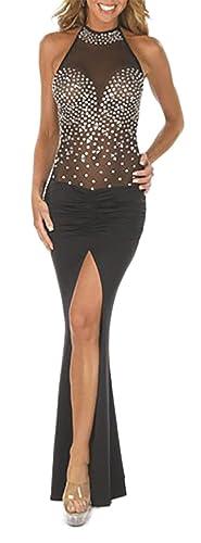 MYWY - Vestito lungo con strass sexy abito sera elasticizzato vestitino party elegante