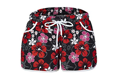 OMONSIM Women's Floral Boardshort (Medium, Red)