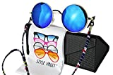 W134-ec Style Vault Retro Hippie Metal Round Sunglasses with Cotton Neck String (C016 Gold-blue mirror, uv400)