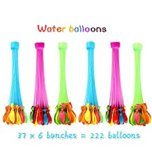 Water Balloons,Easy fill 111 water balloons in 1 minute,6 Bunches (222 balloons)