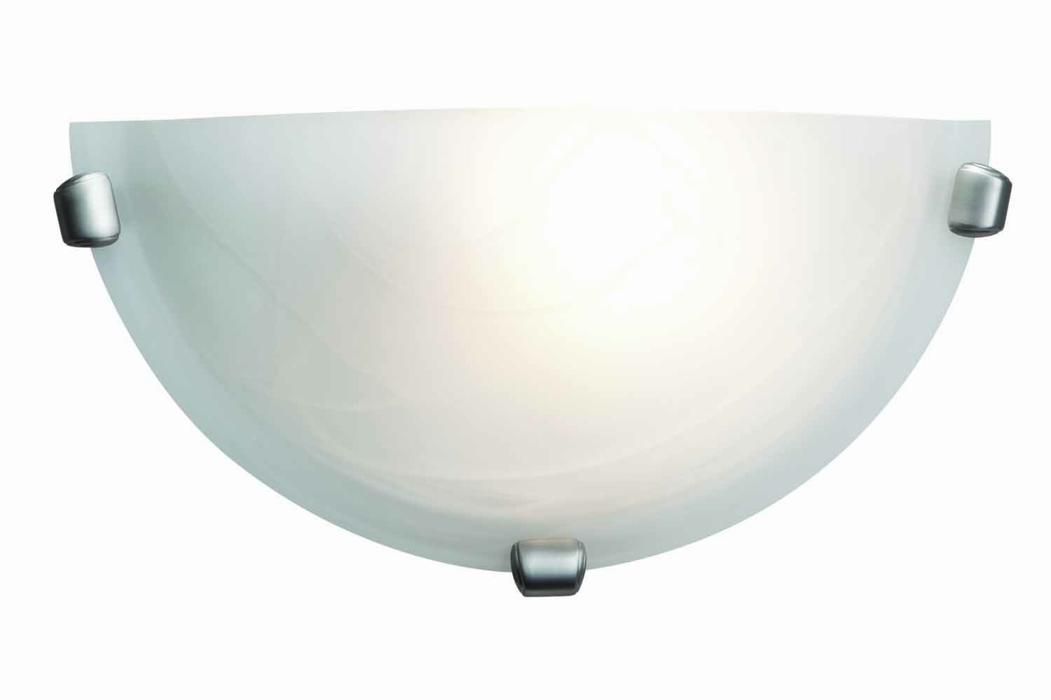 Mona - Wall Sconce - Brushed Steel Finish - Alabaster Glass Shade