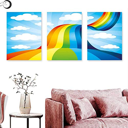 - Rainbow Wall hangings Rainbow Road Clouds Abstract Cartoonish Expression Natural Events Ribbon Triptych Wall Art Sky Blue Multicolor Triptych Art Canvas W 12