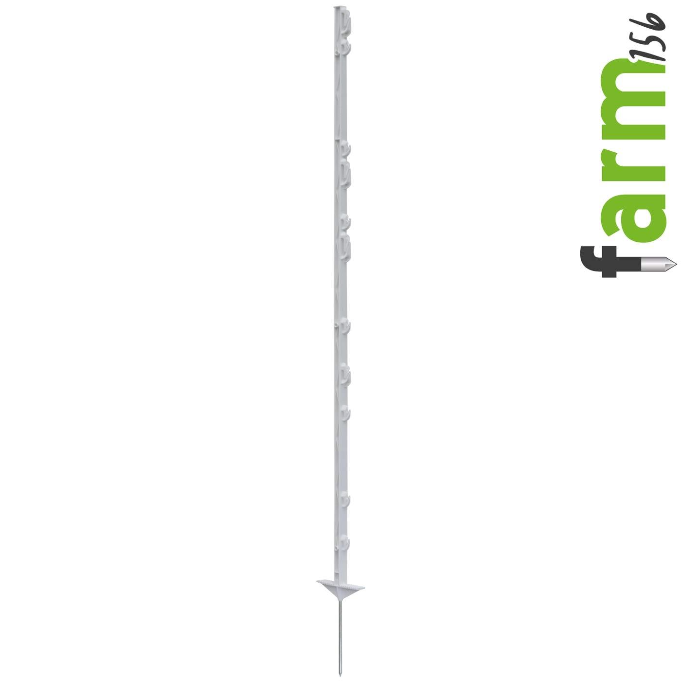156cm Long 11 Lugs 136cm Above Ground VOSS.farming 20x Electric Fence Posts farm 156 White