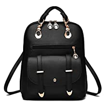 DoDoMall Ladies Women Leather Backpack Purse Travel Casual Backpack for Girls School Backpacks for Teen Girls Young (Black)