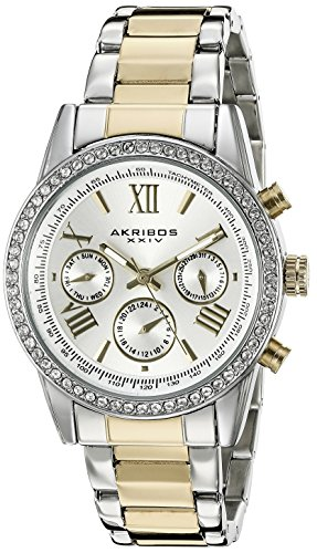 Akribos XXIV Women's AK872TTG Round Silver Dial Three Hand Quartz Two Tone Bracelet Watch