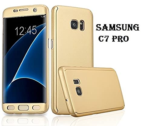 size 40 2039c 2cc17 AE 360 Degree SAMSUNG GALAXY C7 PRO Front Back Cover Case WITH TEMPERED  GOLD ...