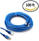 HUACAM HCM07 Cat5 Patch Cord Cable 100 ft Ethernet Cable Internet Cable Ethernet Cable Network Cable For PC Mac Laptop PS4 Xbox Modem Router Blue