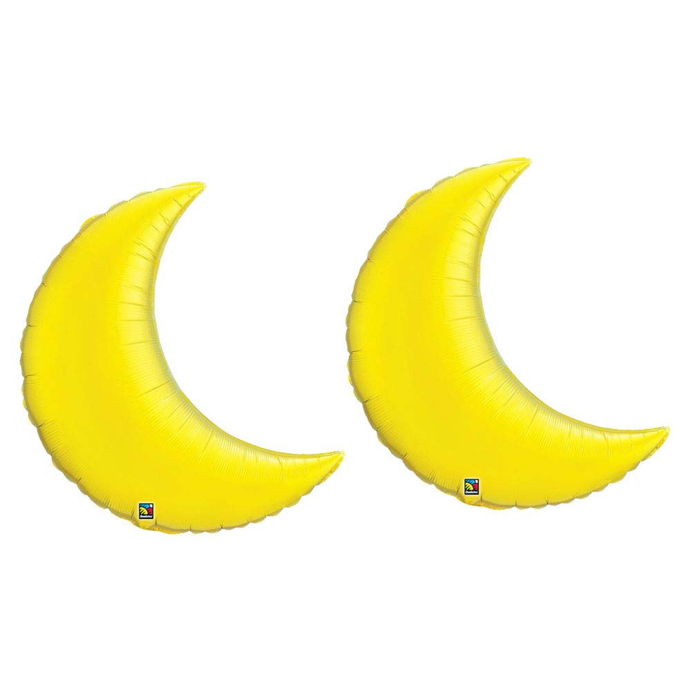Set of 2 Yellow Crescent Moon 35'' Foil Balloons Party Decoration