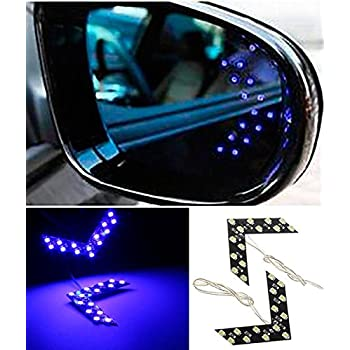 CHAMPLED® 2x 14 SMD LED Arrow Panel Car Side Mirror Turn Signal Indicator Lights Bulbs Brilliant Blue For FORD CHRYSLER CHEVY CHEVROLET DODGE CADILLAC JEEP GMC PONTIAC HUMMER LINCOLN BUICK
