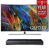 "Samsung QN55Q7C Curved 55"" 4K Ultra HD Smart QLED TV (2017 Model) w/ Samsung 4K Ultra HD Blu-ray Player & 1 Year Extended Warranty"