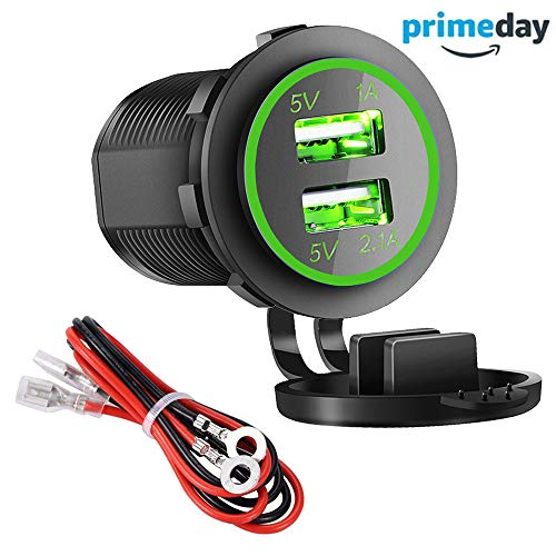 Dual USB Charger Socket Power Outlet - 1A & 2.1A for Car Boat Marine Mobile with Wire Fuse DIY Kit (3.1A-Green)