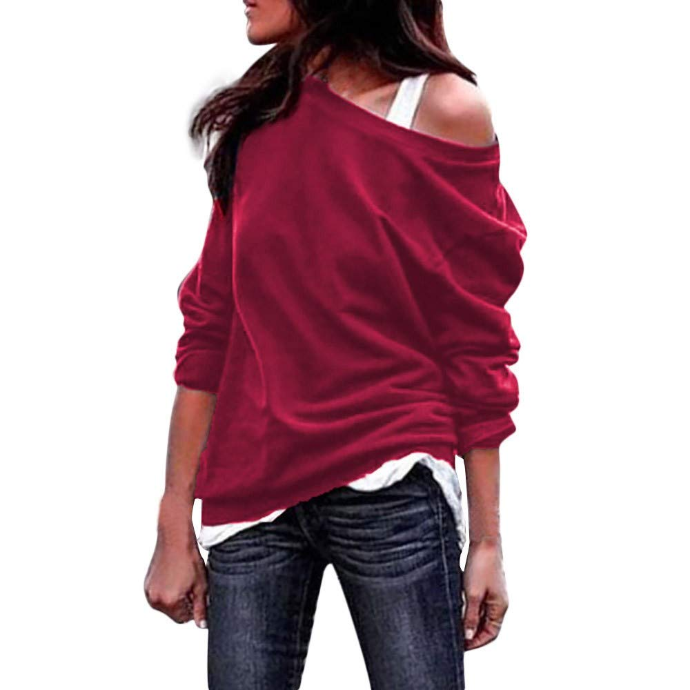 Womens Tops,St.Dona Women's Long Sleeve Sweatshirts Casual Oversized Baggy Off Shoulder Shirts Pullover Blouse (Red -1, X-Large)