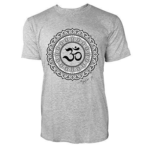 SINUS ART ® Henna Tattoo Mandala Herren T-Shirts in hellgrau Fun Shirt mit tollen Aufdruck