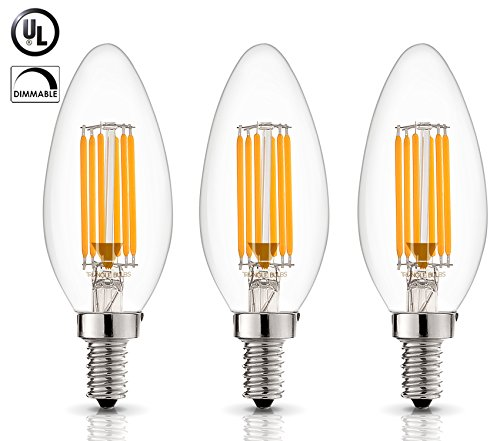 (3 Pack) 6-Watt Dimmable Filament LED Chandelier Bulb, 60-Watt Incandescent Replacement, 500 Lumens, E12 Candelabra Base, 2700K Warm (Warm Light, Torpedo) ()