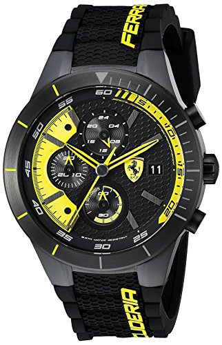 Ferrari Men's 0830261 REDREV EVO Analog Display Japanese Quartz Black - Men Scuderia Ferrari