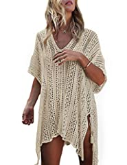 Ready for going on tropical vacation? Lovely and practical, our swimwear cover up might be the most comfortable garments you've ever worn. It features chic crochet pattern, which makes you look stylish and fashionble. scoop neck and A-Line sh...