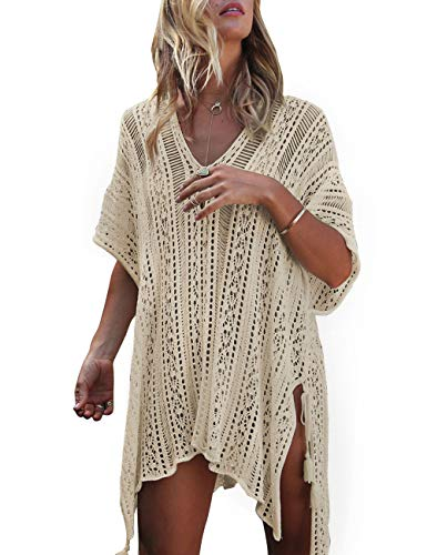 shermie Swimsuit Cover ups for Women Loose Beach Bikini Bathing Suit Cover up Beige