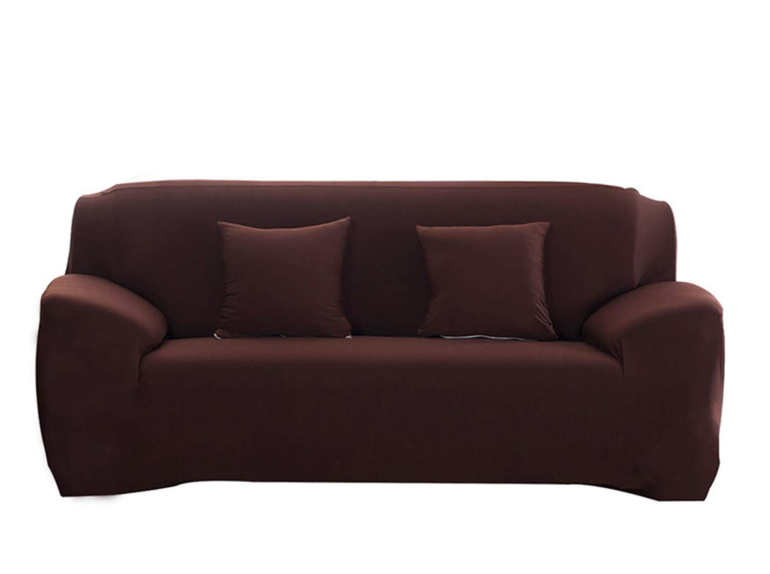 Hotniu Stretch Sofa Slipcover 1 Piece Polyester Spandex Fabric Couch Cover Fitted Furniture Slipcovers for Loveseat and Sofas (Loveseat, Coffee)