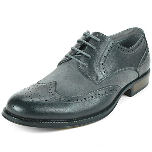 Alpine Swiss Zurich Mens Wing Tip Oxfords Two Tone Brogue Medallion Gray 11 M US