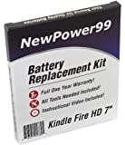 """Kindle Fire HD 7"""" Battery Replacement Kit with Video Installation DVD, Installation Tools, and Extended Life Battery"""