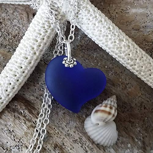 """""""Cobalt/Sapphire blue heart"""" sea glass necklace,""""September Birthstone"""", sterling silver chain, Hawaiian Gift, FREE gift wrap, FREE gift message, Mother"""