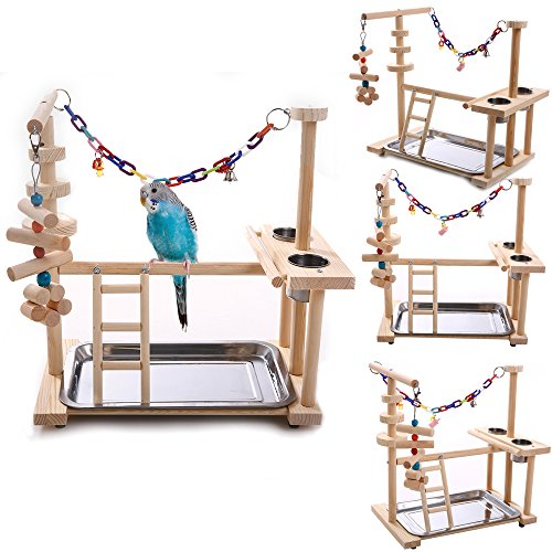 QBLEEV Parrot Playstand Bird Playground Wood Perch Gym Playpen Ladder with Toys Exercise Play (Include a Tray) (16