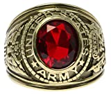 US Army Ruby Red Simulated Men's Ring 18k Gold Overlay