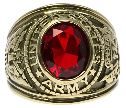 Sujak Jewelry US Army Ruby Red Simulated Men's Ring 18k Gold Overlay Size - 18k Army Ring