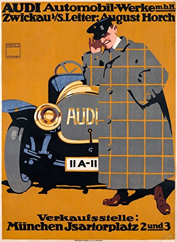 (Audi Vintage Poster (artist: Hohlwein) Germany c. 1912 (16x24 SIGNED Print Master Giclee Print w/Certificate of Authenticity - Wall Decor Travel)