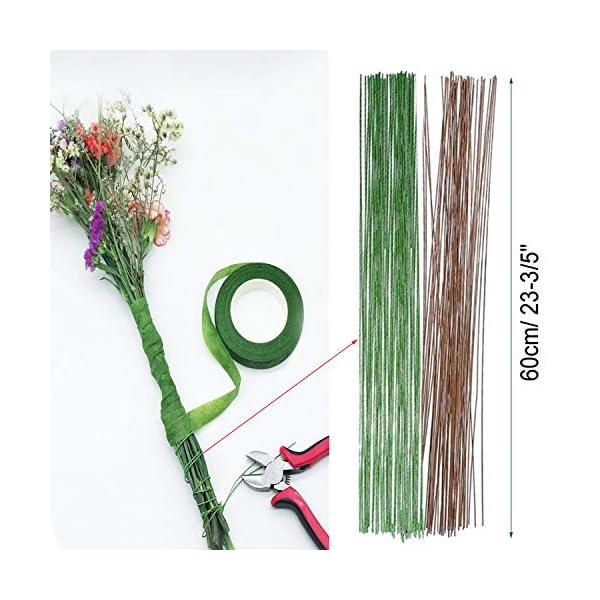 Stem Tape Cortador de Alambre y Tijeras Verde YLX Herramienta Florales Estilo Alambre 4 Pz Herramientas Arreglo Floral Kit