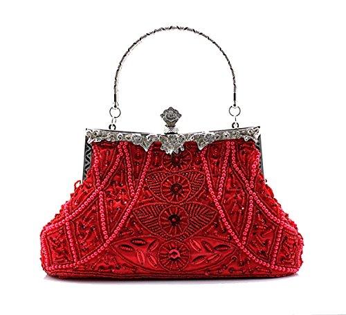 Aronvivi - Cartera de mano para mujer rojo Red talla única Red