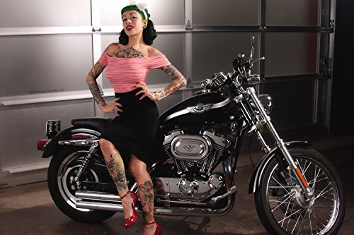 Harley Davidson Chopper Hot Pin-Up Girl Tattoos Motorcycle Bike Poster