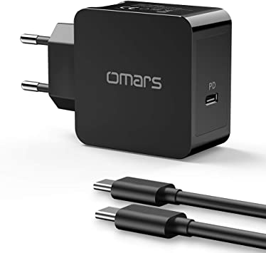 Omars Cargador USB Pared 30W con Cable USB-C, Carga Rápida PD 3.0(Power Delivery), Cargador