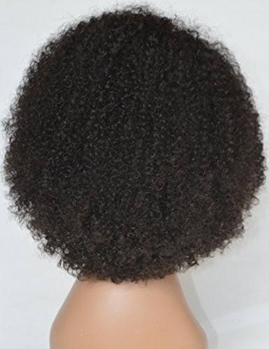 Chantiche Silk Top Invisible Deep Parting Short Kinky Curly Lace Wigs For Black Women Natural Looking Brazilian Remy Human Hair Wigs With Right Part 14 Inch #1B(GL-0103) by Chantiche Lace Wig (Image #3)