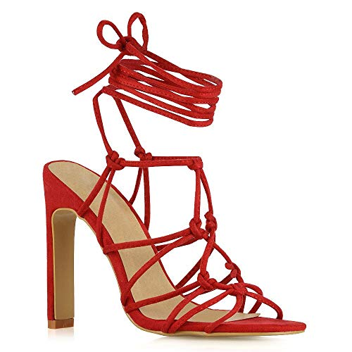 58409a6371d ESSEX GLAM Womens Lace Up Sandals Ladies Caged Gladiator High Heel Strappy  Shoes
