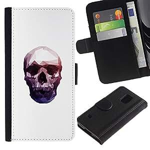 EJOY---Tirón de la caja Cartera de cuero con ranuras para tarjetas / Samsung Galaxy S5 V SM-G900 / --Neon Polígono cráneo