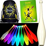 3x One-Piece LED GLOW Juggling Clubs Set of 3 + Mr Babache Clubs Booklet + Flames N Games Travel Bag! Quality Training GLOW LED Juggling Club Set Ideal For Beginners & Advance Jugglers! (Red/Yellow)