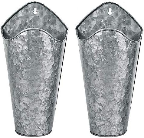 Gonioa Set von 2 verzinkten Metall-Wand-Pflanzgefäßen, Landhaus-Wanddekoration, Wandvase, Pflanzgefäße für Sukkulenten oder Kräuter im Innen- und Außenbereich