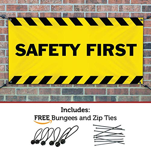 Safety Banner - SAFETY FIRST Banner Sign 2ftX6ft Yellow w/ Black Strips