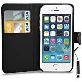 Apple iPhone 5/5S Leather Wallet Flip Case Cover Pouch & Mini Touch Stylus Pen + Screen Guard & Cleaning Cloth - Black