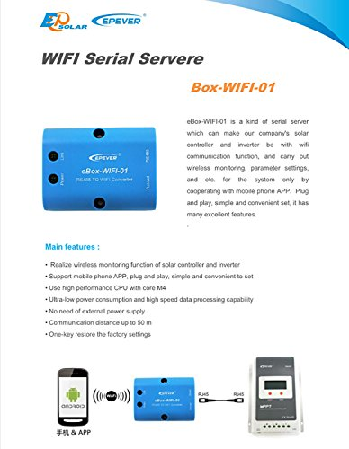 EPEVER eBox-WIFI-01 WLAN-Adapter 5 VDC Solar WiFi Serieller Server Mobile Wireless App für MPPT Controller mit RS485 Port Unterstützung Android/iOS App (eBox-BLE-01)
