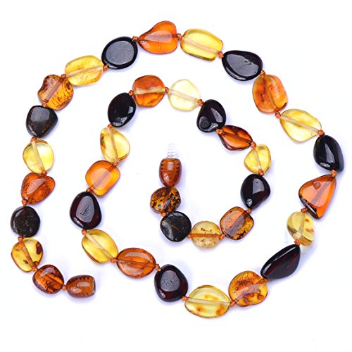 Adult Baltic Amber Necklace - Mixed Colors - Certified Amber - Knotted Between Beads - Natural Pain Relief (Mixed Beans 20