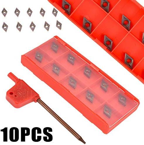 NO LOGO 1set 10pcs 55 Grad DCMT0702 YBC205 Karbid-Einsätze Mit Schlüssel for CNC-Drehmaschine Drehwerkzeug Bohrstange