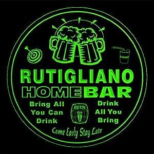 4x ccq38746-g RUTIGLIANO Family Name Home Bar Pub Beer Club Gift 3D Engraved Coasters