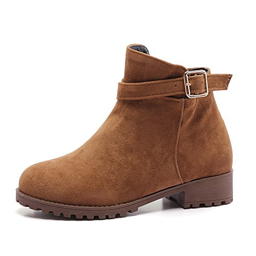 Heels Boots Frosted Solid Low top AgooLar Women's Zipper Brown Low Etqna8