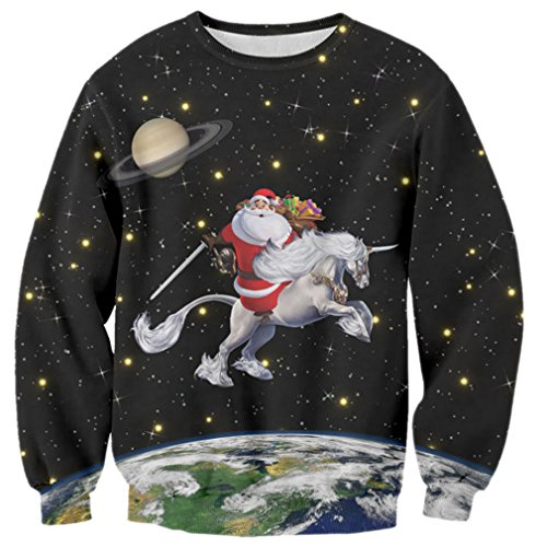 RAISEVERN Funny Santa Ride Unicorn Design Round Neck Sweatshirt, Multi, XL