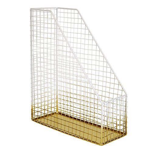 (C.R. Gibson Wire Mesh Magazine Holder, Two Tone Metallic, Measures 12