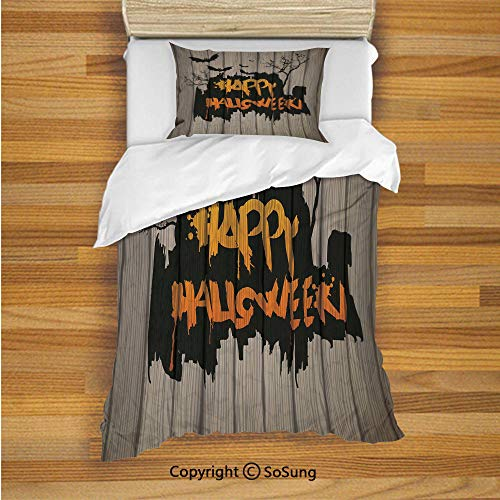 Halloween Decorations Kids Duvet Cover Set Twin Size, Happy Graffiti Style Lettering on Rustic Wooden Fence Scary Evil Artwork 2 Piece Bedding Set with 1 Pillow Sham,Multi -