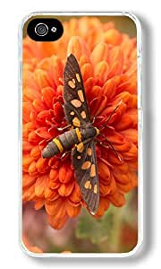 Black Moths And Flowers Custom iPhone 4S Case Back Cover, Snap-on Shell Case Polycarbonate PC Plastic Hard Case Transparent