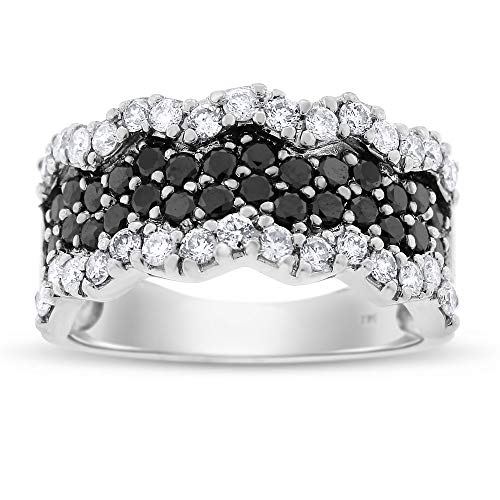 Diamond Wave Beads - 1.75 Ct. Natural Black & White Diamond Wave Ring in Solid 14k White Gold